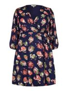 Yumi Curves Rose Print Wrap Dress