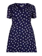 Yumi Curves Dog Print Short Sleeve Dress