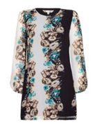 Black Floral Tunic Dress With Long Sleeves