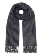 Grey Reversible Dogtooth And Stripe Scarf