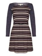 Striped Jersey Dress With Long Sleeves