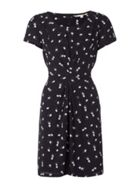 Black Short Sleeve Dress With Daisy Print