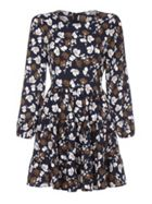 Flower Print Long Sleeve Pleat Dress
