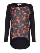 Black Poppy Print Top With Long Sleeves