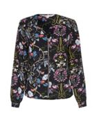 Floral Collarless Bomber Jacket