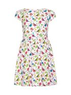 Bird Print Short Sleeve Party Dress