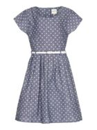 Spot Short Sleeve Belt Dress