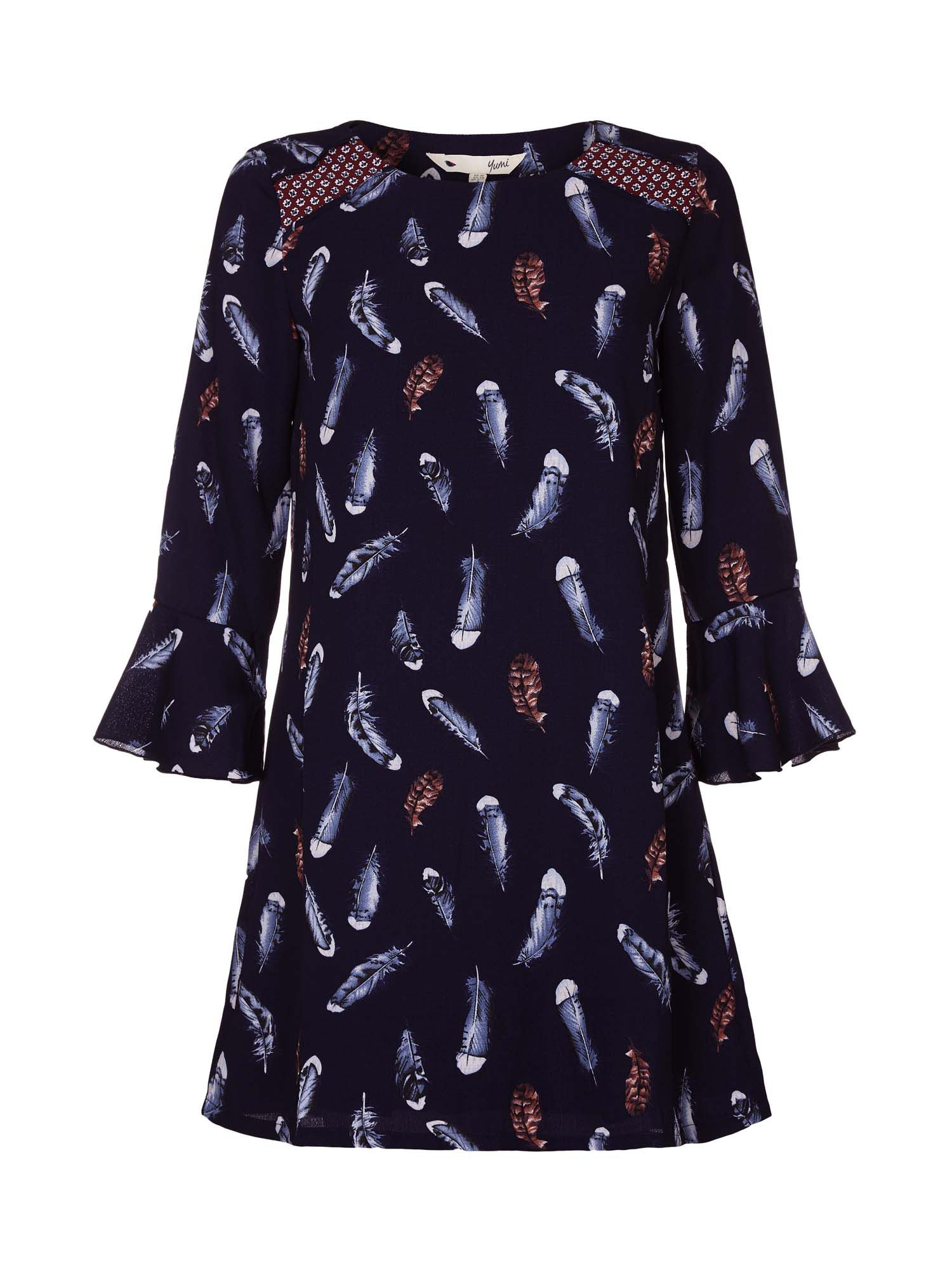 Yumi Feather Print Frill Sleeve Dress Navy