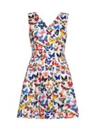 Butterfly Print Sleeveless Skater Dress