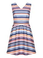 Stripe V-neck Skater Dress