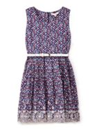 Ditsy Floral Print Embroidered Hem Dress