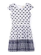 Elephant Print Short Sleeve Dress
