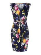 Mela London Floral V-Neck Belted Dress