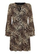 Mela London Animal Print Frill Sleeve