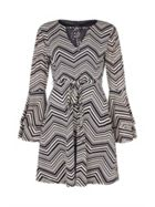 Mela London Zig Zag Trumpet Sleeve Dress