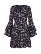 Mela London Flower Print Ruffle Dress