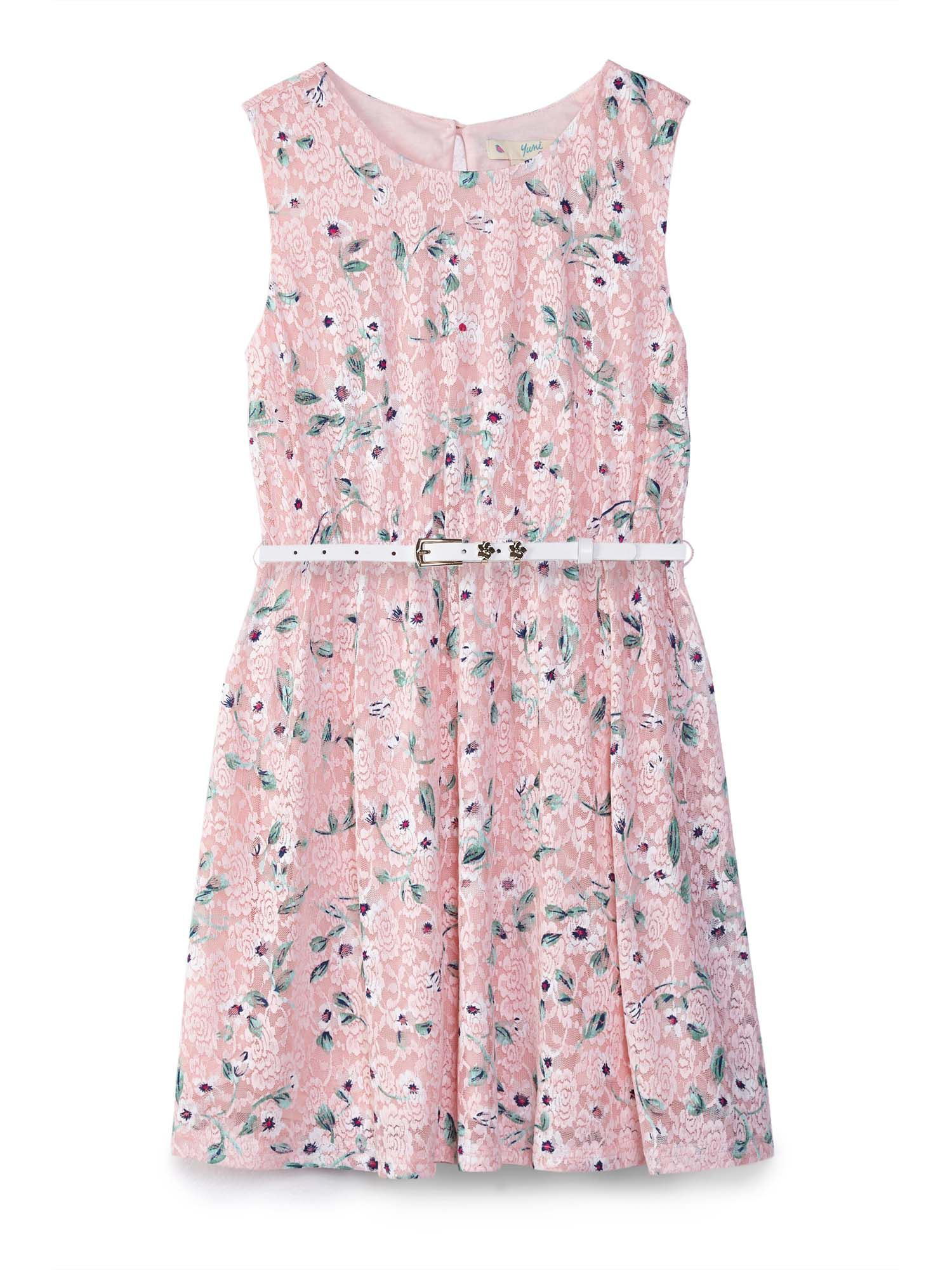 Floral Printed Lace Dress by Yumi Girls