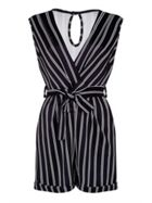 Mela London Stripe Wrap Effect Playsuit