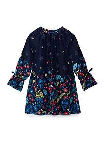 Yumi Girls Girls Butterfly And Floral Print Tunic Dress ...