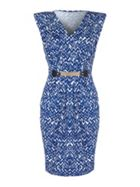 Mela London Chevron Print Belted Dress