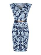 Mela London Leaf Print Belted Dress