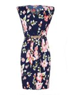 Mela London Floral V-Neckline Belted Dress
