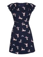 Mela London Bird Print Frill Sleeve Skater Dress