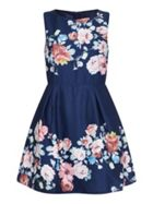 Mela London Rose Print Sleeveless Prom Dress