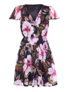 Mela London Wrap Front Floral Print Dress