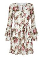 Mela London Floral Print Tumpet Sleeve Dress