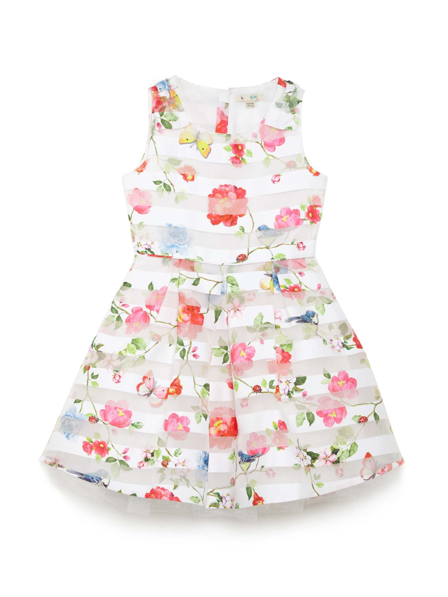 Girls Sheer Floral And Butterfly Print Dress by Yumi Girls