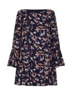 Mela London Weaving Floral Print Flute Sleeve Dress