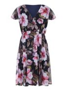 Mela London Curve Wrap Front Floral Print Dress