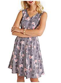 ... Yumi Check And Flower Print Skater Dress fc5a9158d