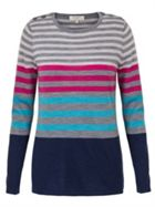 East Merino Stripe Button Jumper