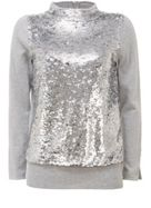 Mint Velvet Grey Sequin Roll Neck Knit