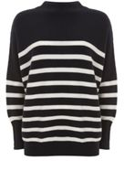 Mint Velvet Navy Stripe Funnel Neck Knit