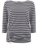 Mint Velvet Contrast Zip Grey Stripe Tee