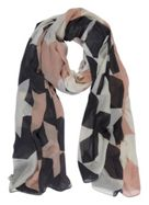 Mint Velvet Grey & Pink Blocked Star Scarf