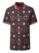 Men's Pretty Green Pique Floral Print Polo Shirt