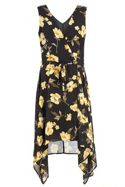 Black And Yellow Chiffon Floral Crossover Front D