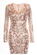 Quiz Nude And Rose Gold Sequin V Neck