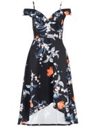 Quiz Quiz Black Floral Sweetheart Neck Strappy Bardot