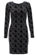 Quiz Quiz Black Velvet Glitter Bodycon Dress