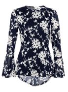 Quiz Quiz Navy And White Floral Long Sleeve
