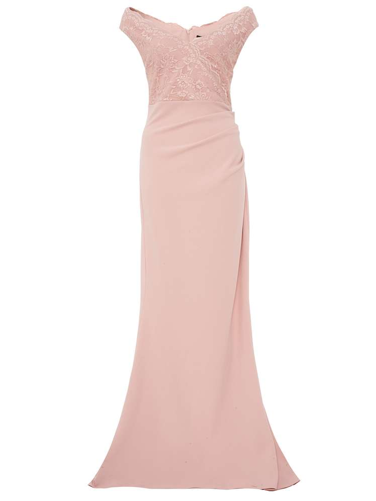Quiz Quiz Nude Crepe Bardot Sequin Lace Fishtail Maxi - House of Fraser