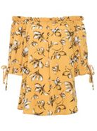 Quiz Quiz Mustard And White Floral Bardot Top