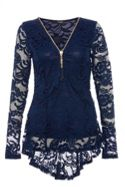 Quiz Quiz Navy Lace Zip Front Tassle Detail