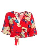 Quiz Quiz Red Floral Print Flute Sleeve Top