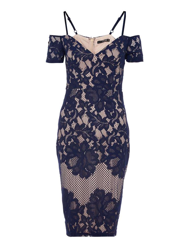 Quiz Quiz Navy And Nude Cold Shoulder Midi Dress - House of Fraser